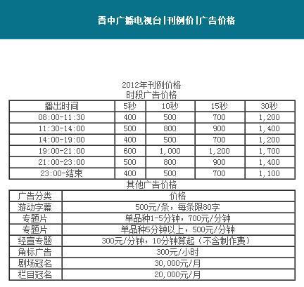 晋中电视台广告价格